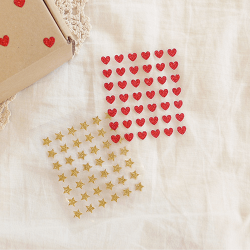 Suatelier Plain Sticker - Glitter Star/ Glitter Heart