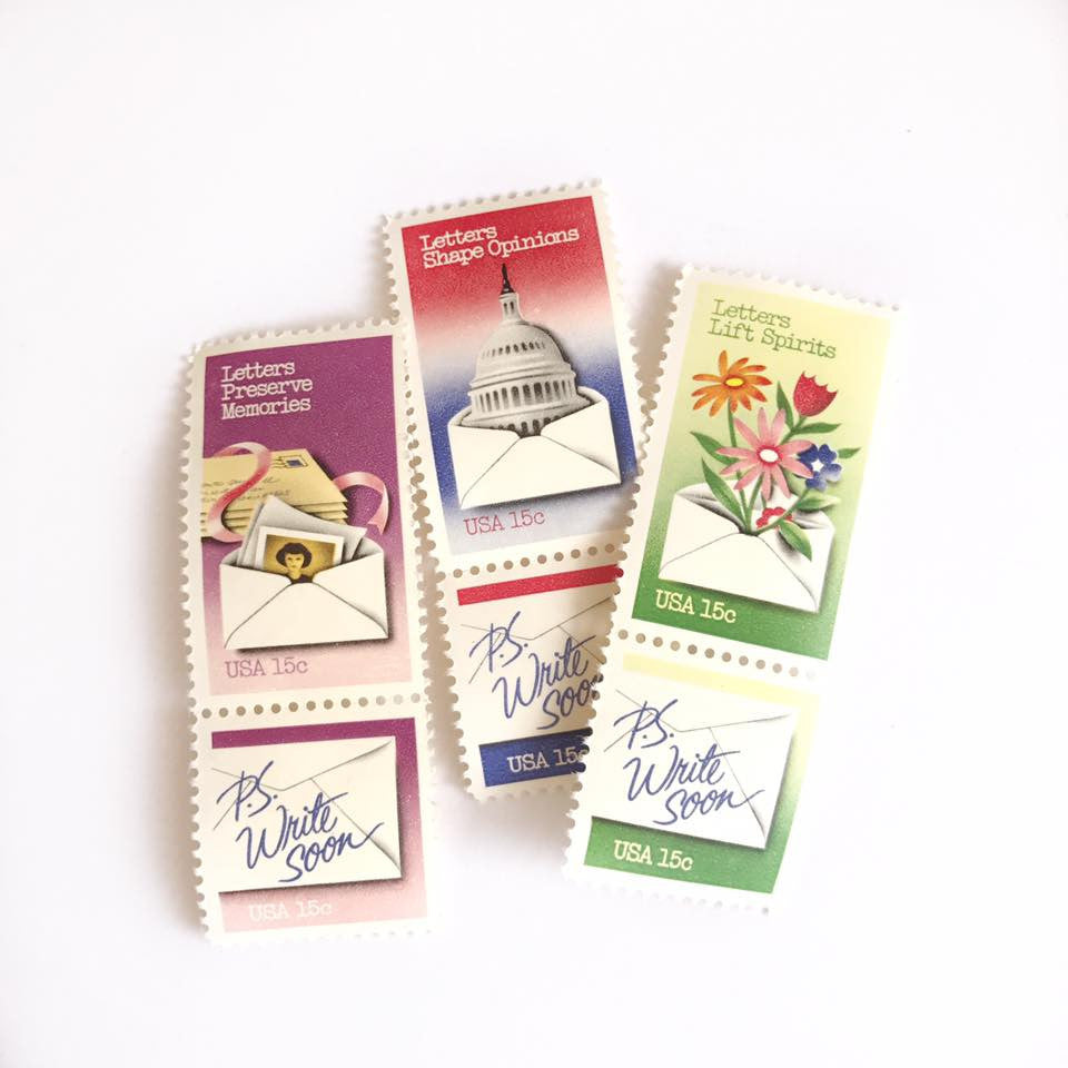 P. S. Write Soon Vintage Stamp Set (1980)