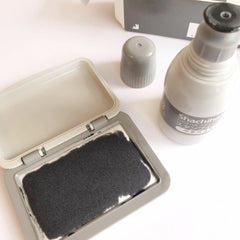 Shachihata Ink Pad + Ink Refill Set - Grey