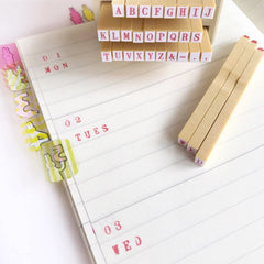 Shachihata Alphabet Rubber Stamps Set
