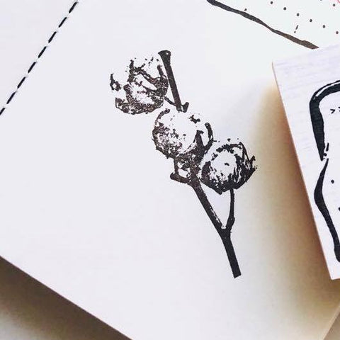 Dried Cotton Flower Rubber Stamp