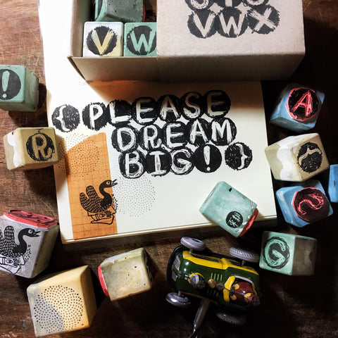Cement Rubber Stamp - Alphabets & Symbols Set