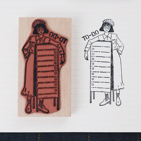 Bonnie Illustration - To-Do List Girl Rubber Stamp