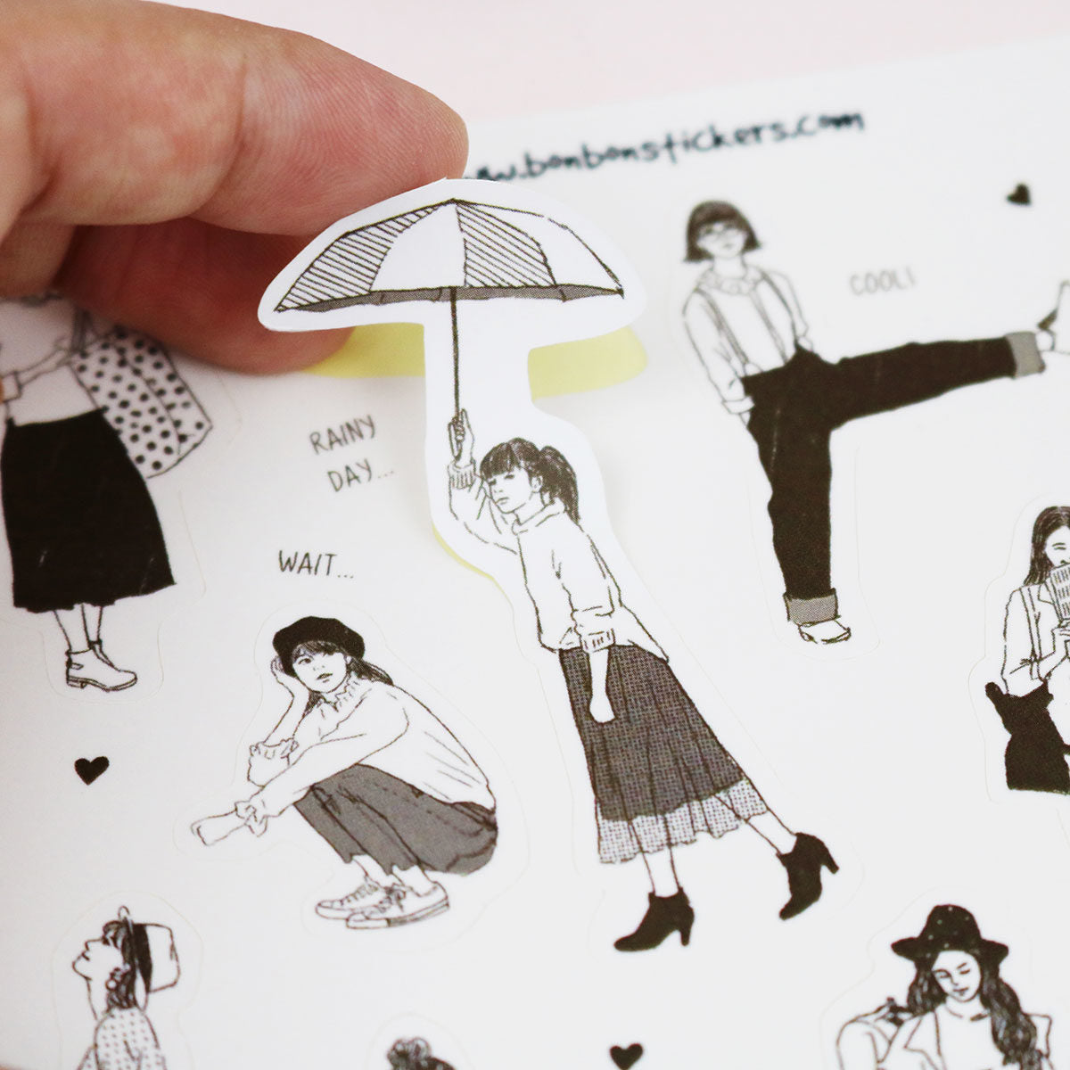 Bon Bon Sticker Sheet - Monocolour Girls (Dark Brown)