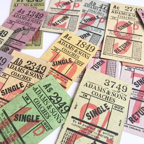 Vintage Ticket Set - Adams & Sons Coaches Single/Return (14pcs)