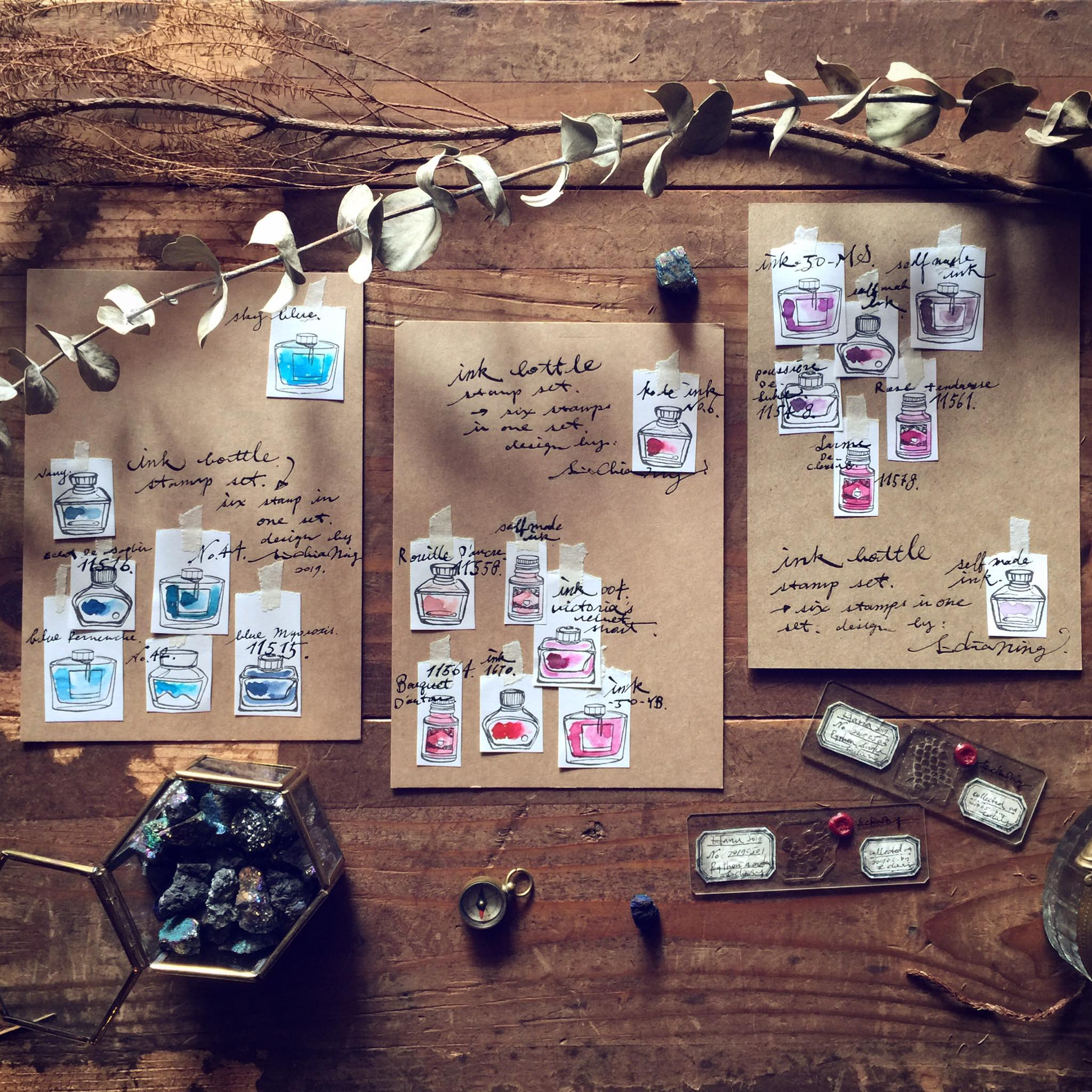 [Discontinued] LCN Ink Bottles Rubber Stamps Set