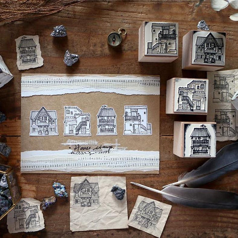 LCN Houses Rubber Stamps Set