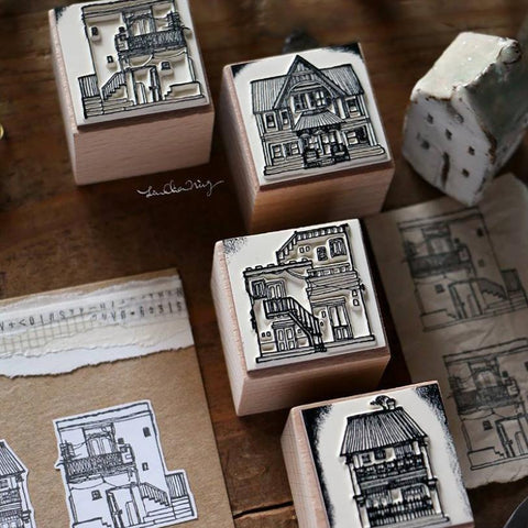 [Discontinued] LCN Houses Rubber Stamp Set