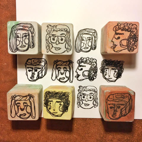 Cement Rubber Stamp - Face in One-Line Set