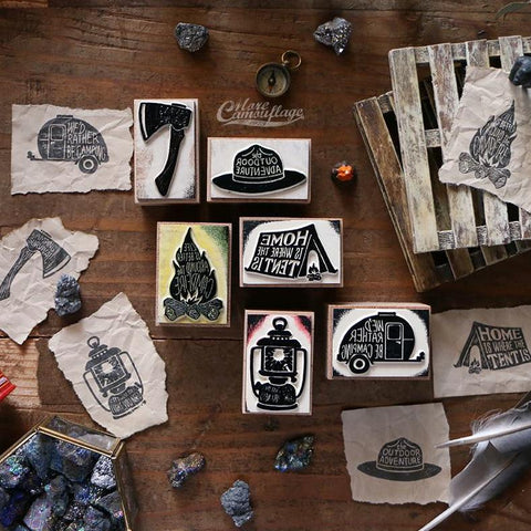 LCN Outdoor Camping Rubber Stamps Set