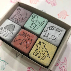Cement Rubber Stamp - Dinosaur Set
