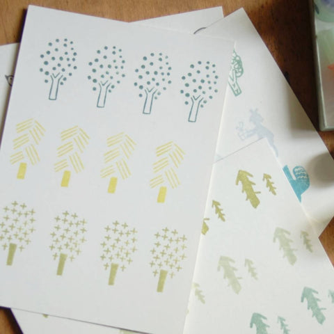 evakaku A Row of Tree Rubber Stamps Set