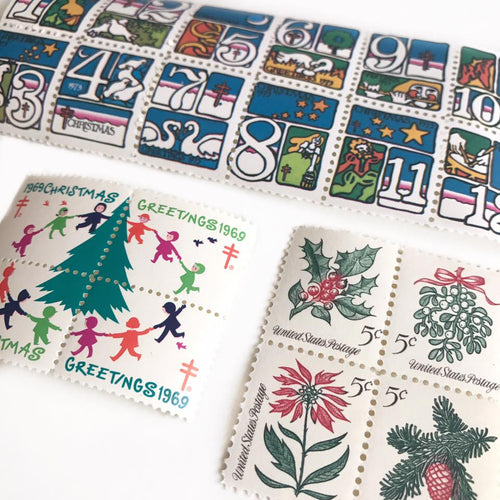 Vintage Christmas Theme Stamps - Christmas Flora