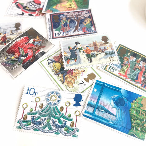Vintage Christmas Theme Stamps Set (6pcs/U.K.)