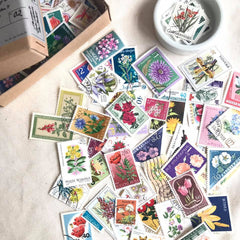 Flowers Theme Vintage Stamps Set