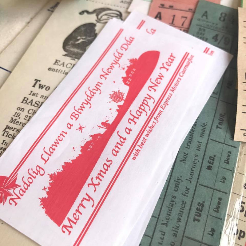 Vintage Xmas & Season Greetings Setright Ticket (10pcs)
