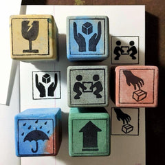 Cement Rubber Stamp - Handle With Care Series
