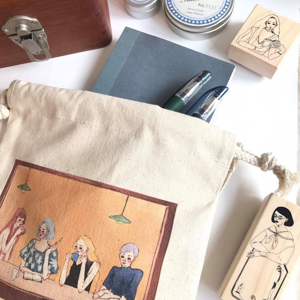 LDV Cafe Friends Drawstring Canvas Pouch