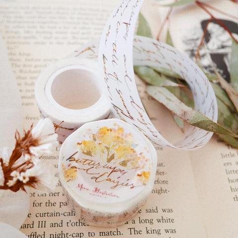Meow Illustration Washi Tape - Flower Picking