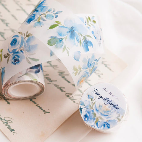 Meow Illustration Washi Tape - Tranquil Garden