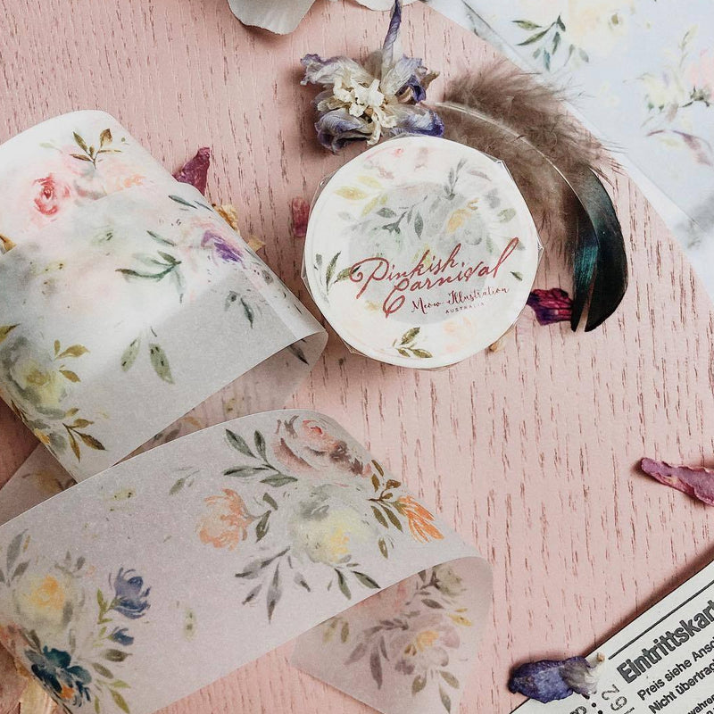 Meow Illustration Washi Tape - Pinkish Carnival