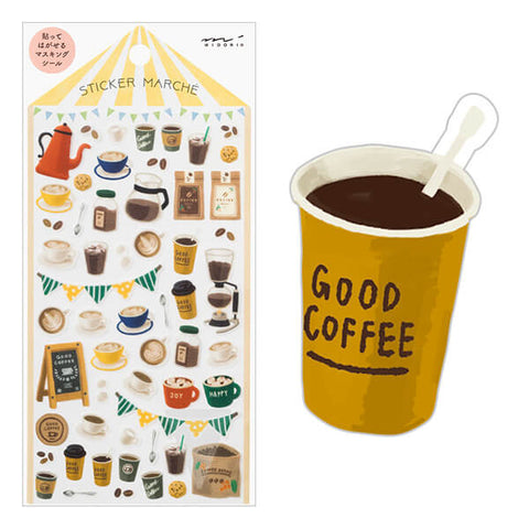 MD Washi Sticker Marché - Coffee