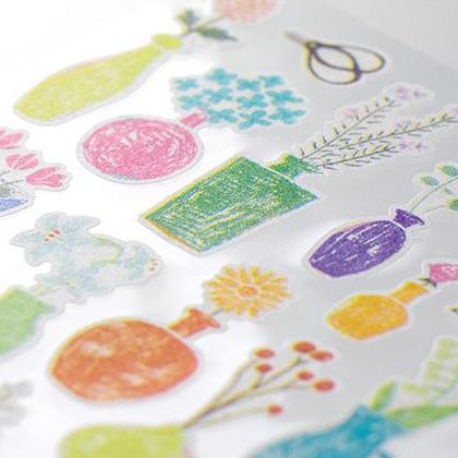 MD Washi Stickers - Marché Flower Vase