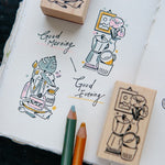 OURS Rubber Stamp Set - Good Morning/Good Evening
