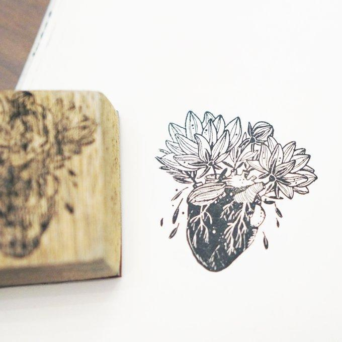 Black Milk Project Rubber Stamp - Blooming Heart