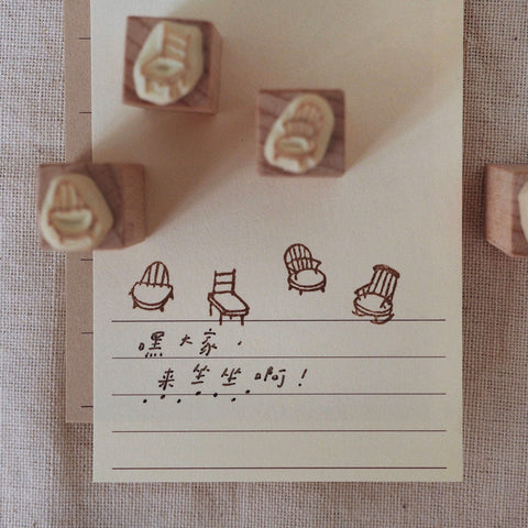 bighands handmade Rubber Stamp - Let's sit