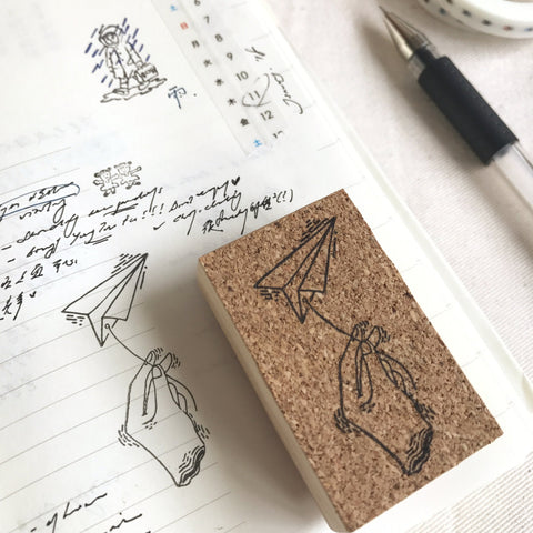 Kurukynki Hand with Plane Rubber Stamp
