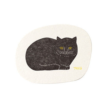 Classiky Black Cat Letterpress Paper Coaster (5pcs)