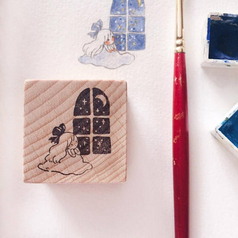msbulat Rubber Stamp - Moon through the Window