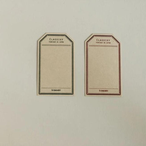 Classiky Letterpress Label Cards