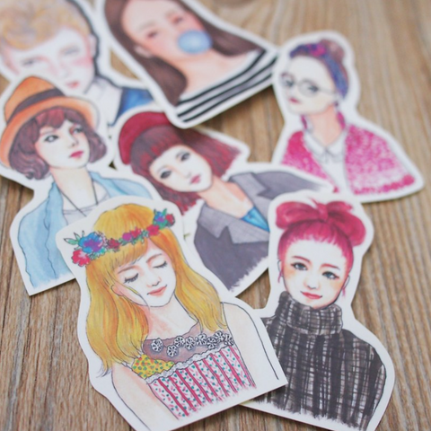 [Discontinued Item] Bon Bon Stickers - Half Body Ladies