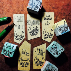 Cement Rubber Stamp - Holding in Hand Series