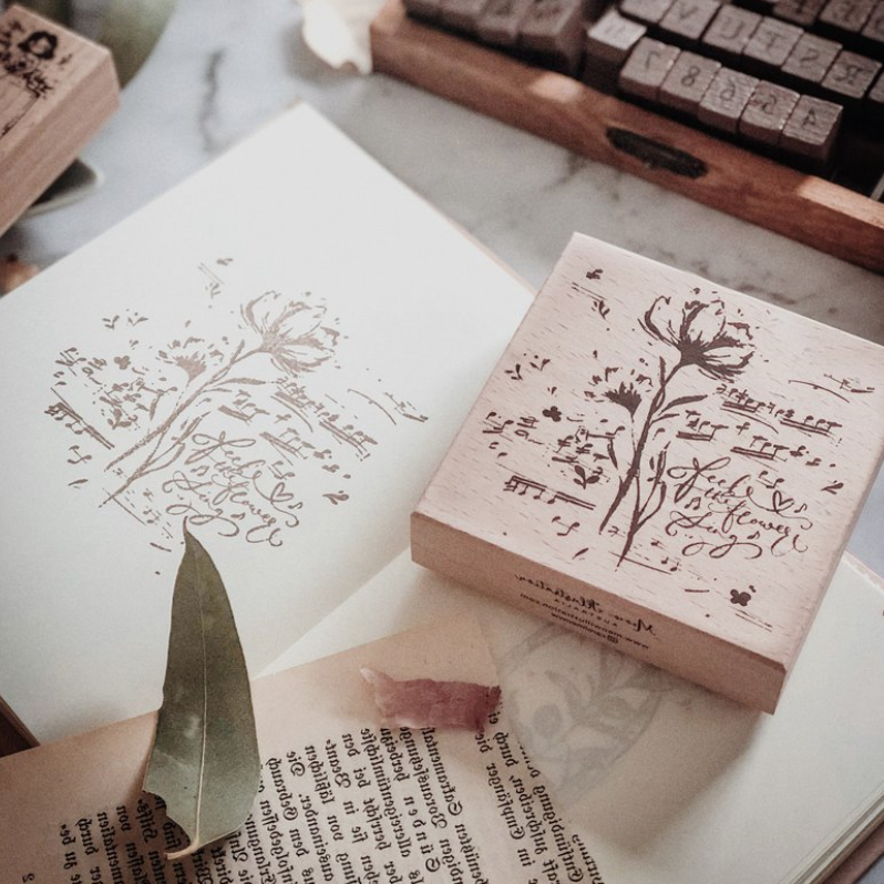 Meow Illustration Botanical Rubber Stamp - Feel the Flower Sing