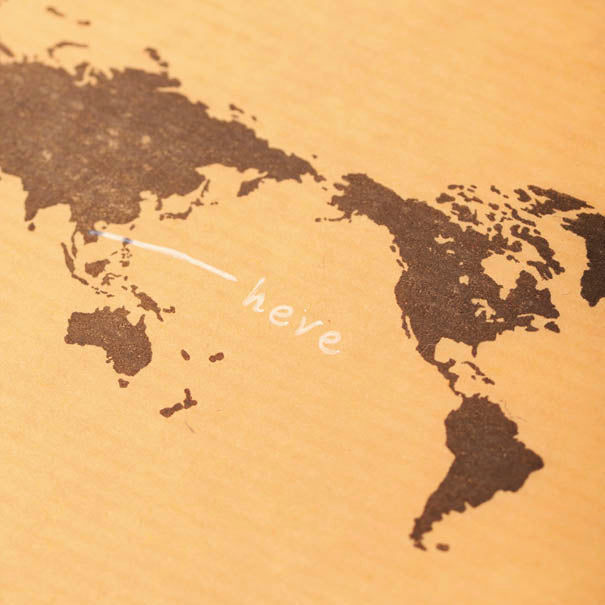 Mizushima World Map Rubber Stamp