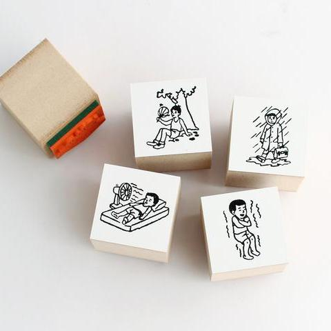 Mizushima Children Weather Rubber Stamp