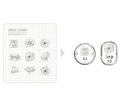 MU My Icon Stamp Set - No. 09 (Mini Flowers)