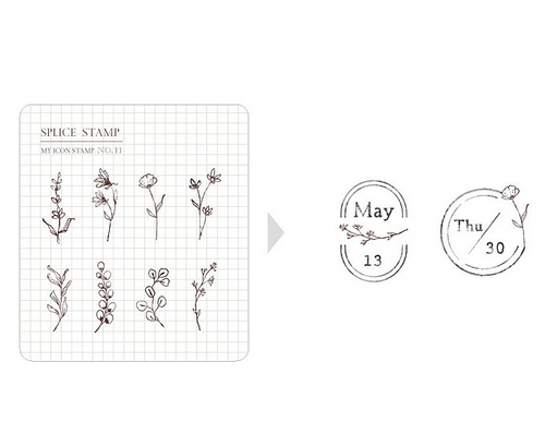 MU My Icon Stamp Set - No. 11 (Mini Botanical)