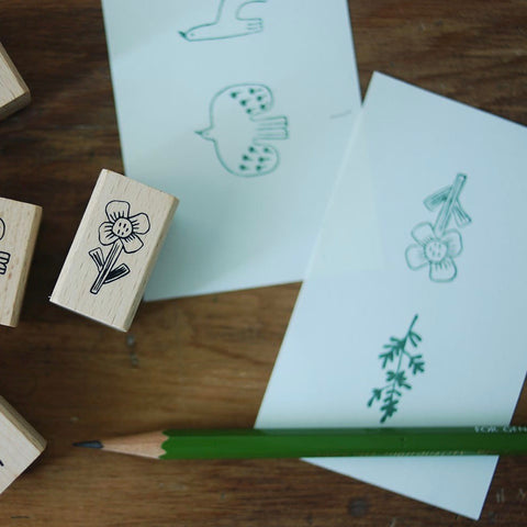 evakaku Rubber Stamp Set - Bird & Flora