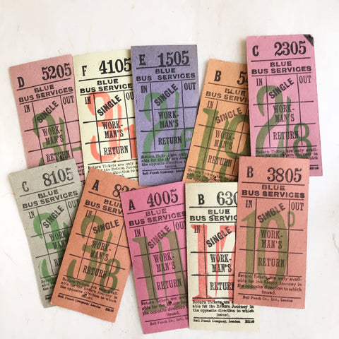 Blue Bus Services Vintage Workman's Ticket Set