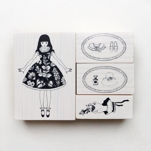 OHS Retro Girl Rubber Stamp Set