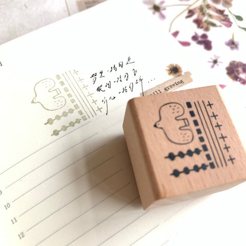 evakaku A Rubber Stamp - bird & geometry