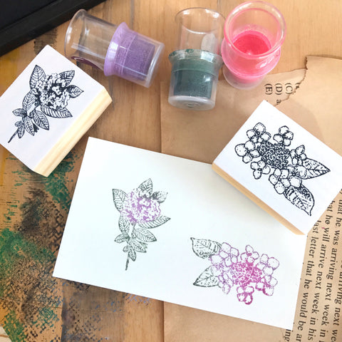 OHS Botanical Rubber Stamp II - Hydrangea