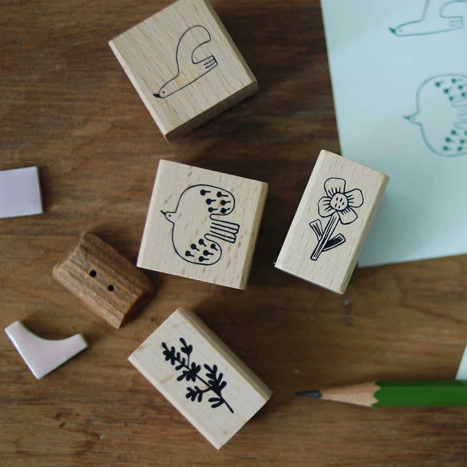 evakaku Bird&Flora Rubber Stamp Set