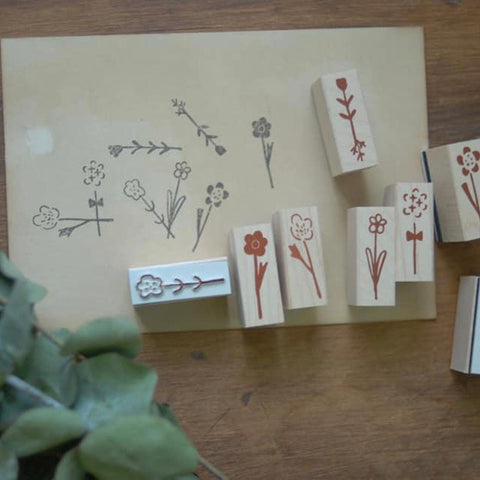 evakaku Daily Flowers Rubber Stamp Set