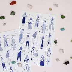 Bon Bon Sticker Sheet - Monocolour Girls (Blue)