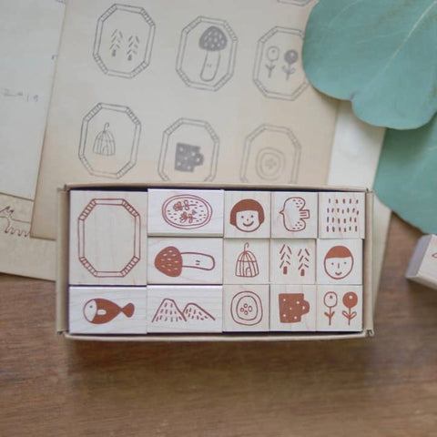 evakaku Daily Life Rubber Stamp Set